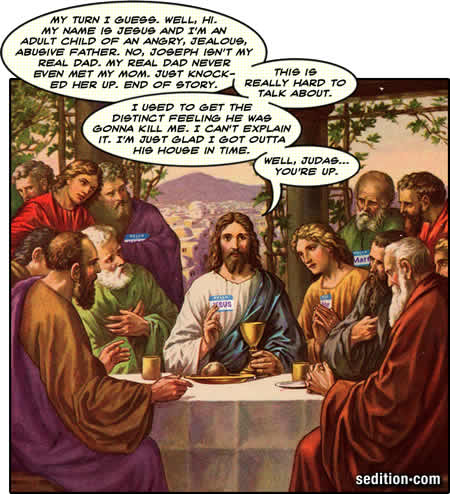 Jesus unloads at his support group.