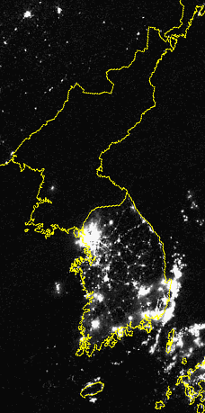 Korea at night.